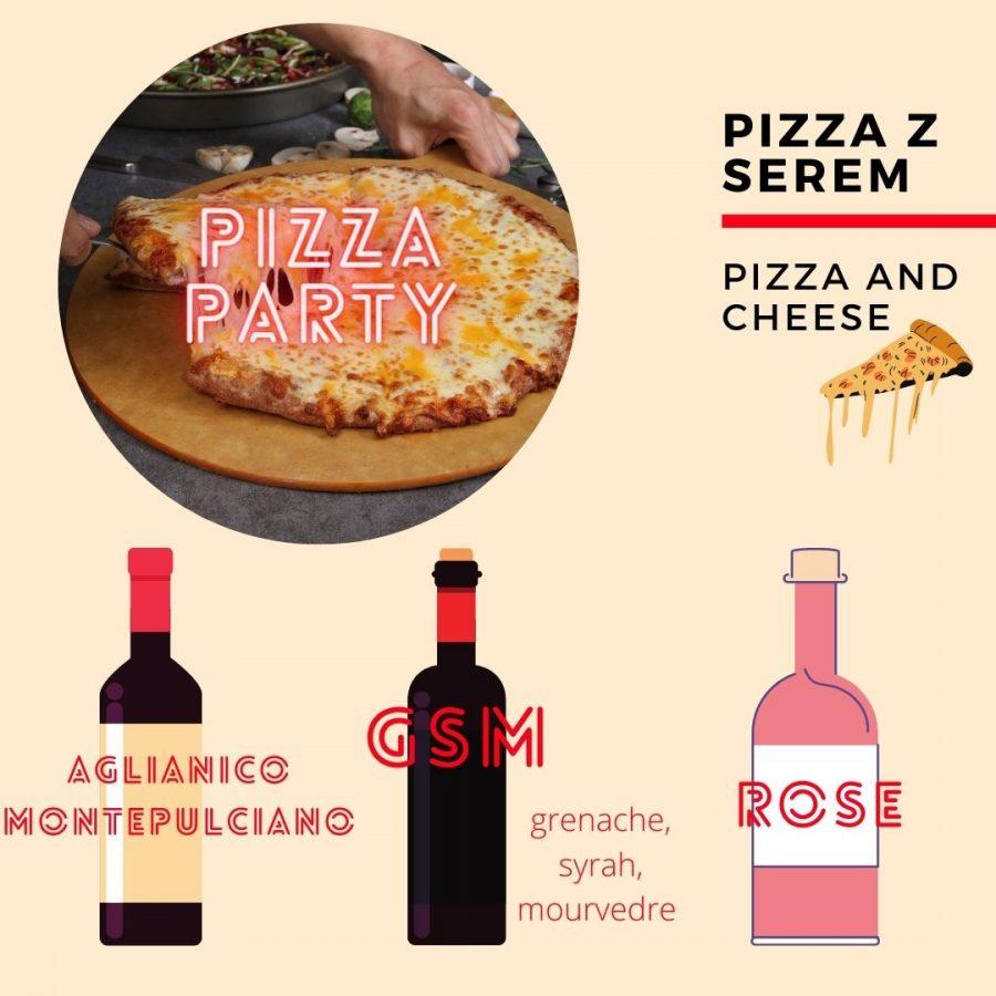 Wino i pizza - z serem