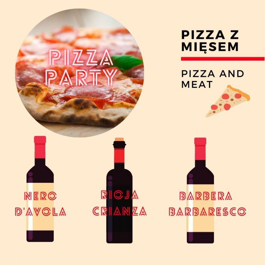 Wino i pizza - z mięsem