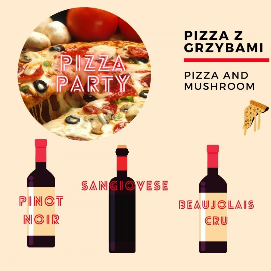 Wino i pizza - z grzybami