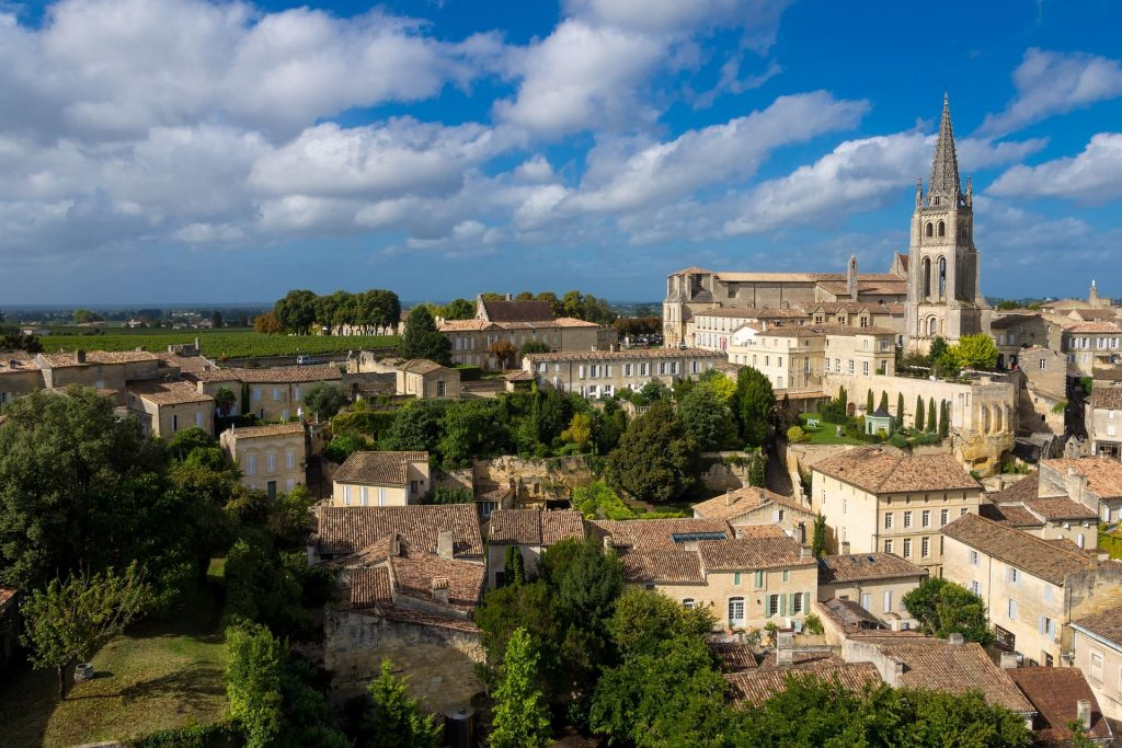 Merlot, Krajobraz w Saint Emilion, Francja